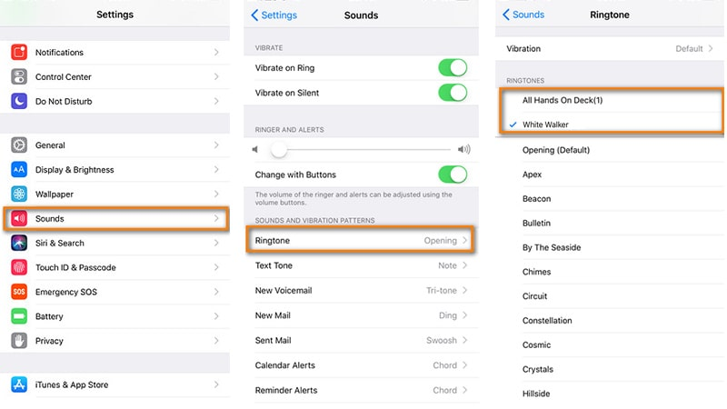 find Sounds setting on iPhone XS