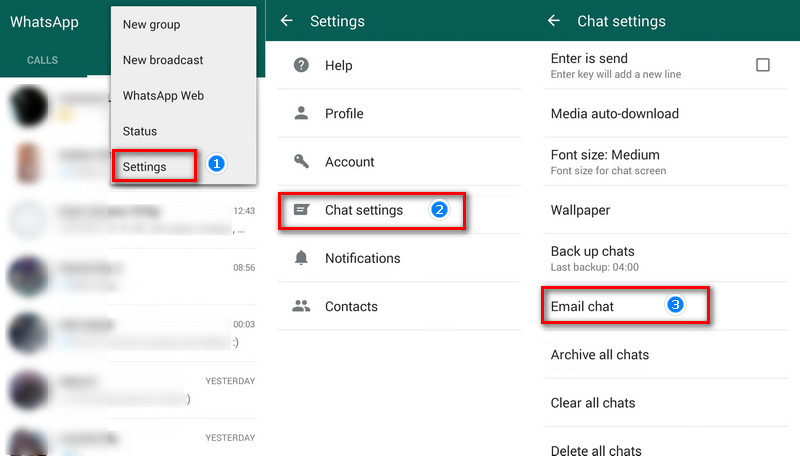email WhatsApp chats to Huawei P30 / P30 Pro