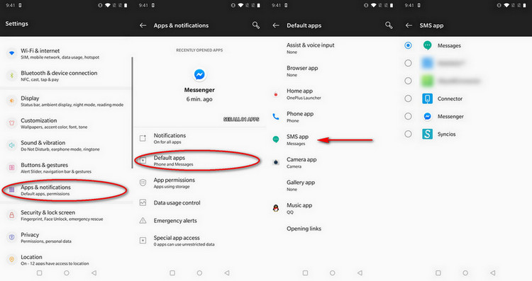 android default app settings