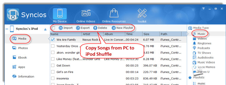copy songs from pc to ipod shuffle