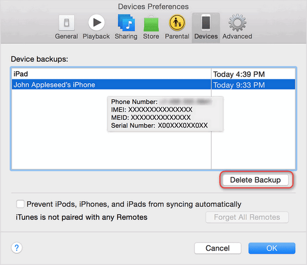 delete iTunes Backup