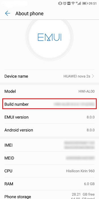 Build Number of Huawei Nova 2S