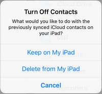Turn off iCloud Contact Sync