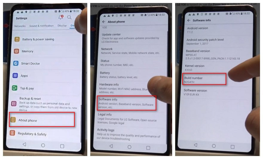 Enable USB debugging mode on LG V20/V30
