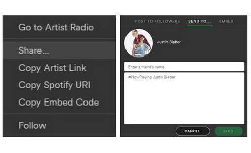 Share Spotify Music by Sending Message