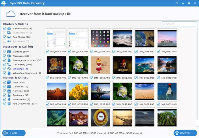 recover lost photos from iCloud backup file