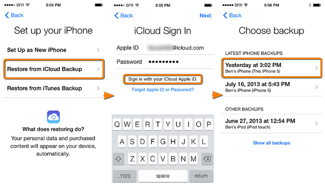 restore contacts from iCloud