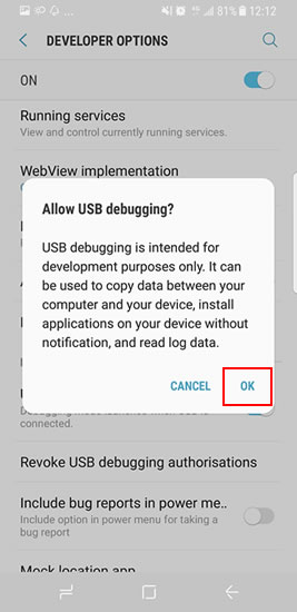 debug samsung galaxy s8 step6