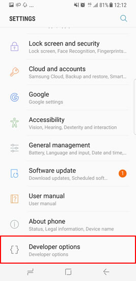 debug samsung galaxy s8 step4