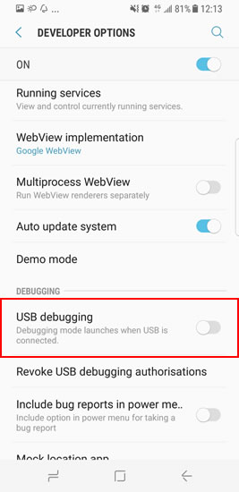 debug samsung galaxy s8 step5