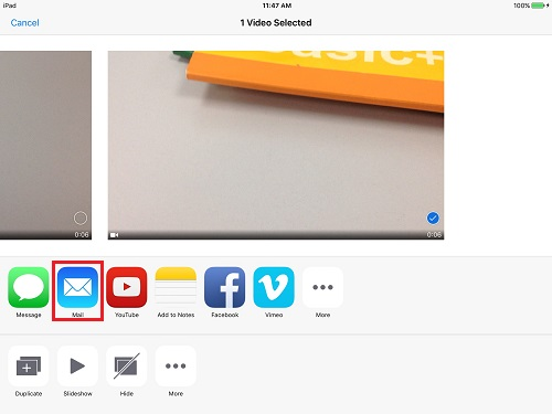 share iPad videos by using email