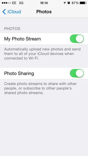 disable iCloud shared stream and photo sharing