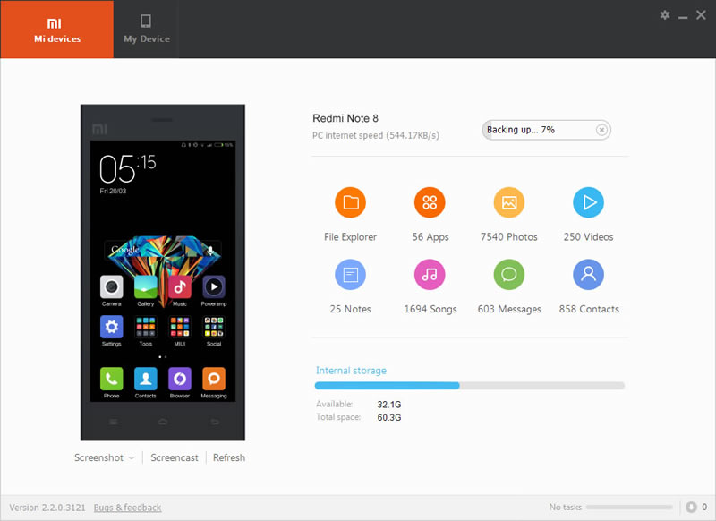 use mi pc suite to backup redmi note 8