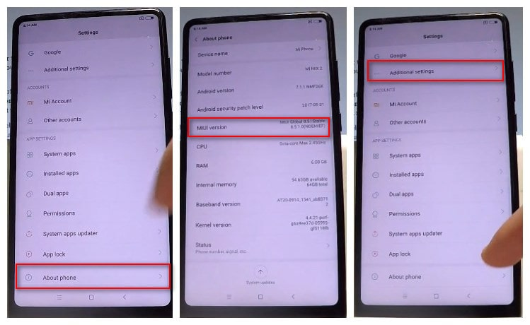 enable debugging mode on xiaomi Xiaomi Mi Mix 2