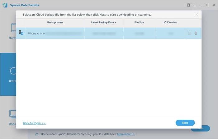 select iCloud backup to download