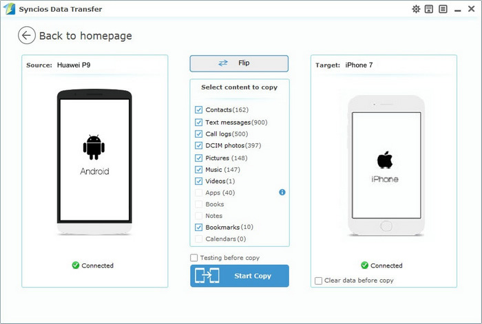 huawei p9 to iphone 7 transfer proceeding