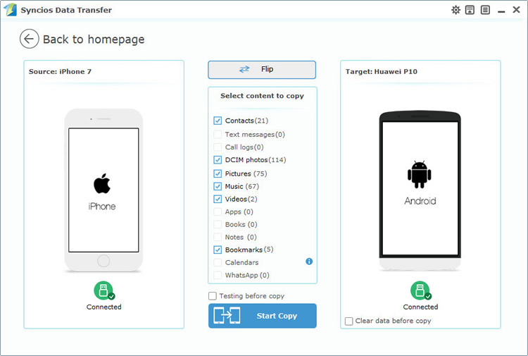 iphone to huawei p10 directly