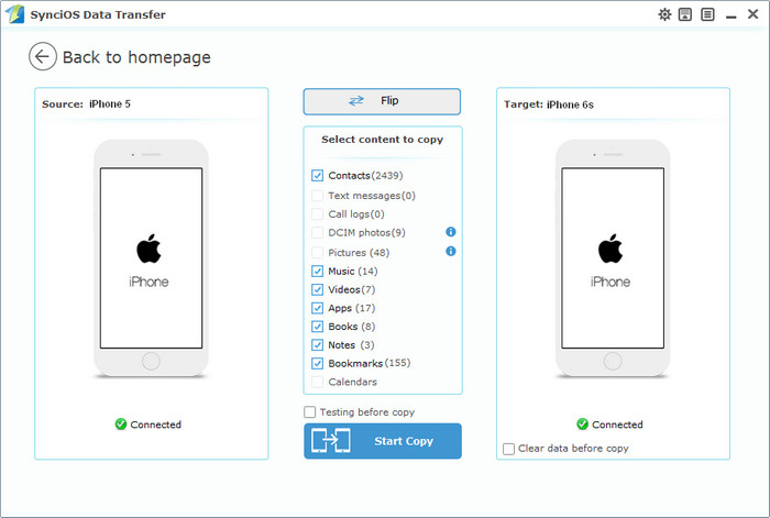 Syncios iPhone to iPhone Transfer