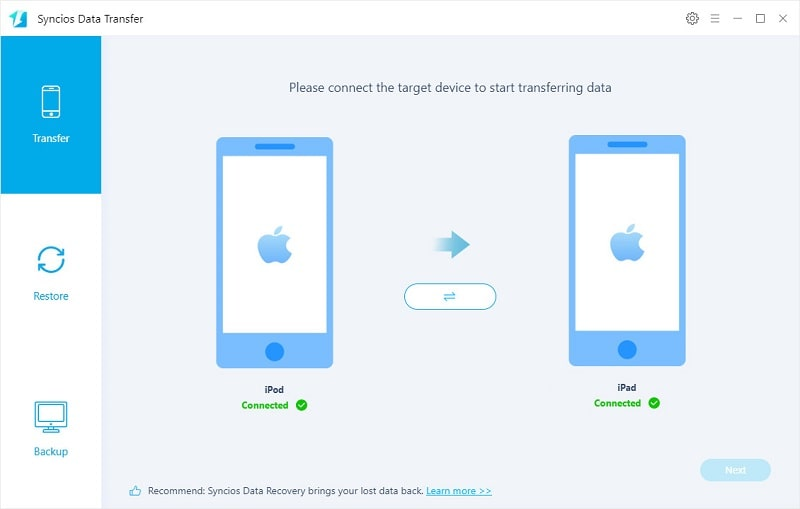 transfer data from iPod to iPad