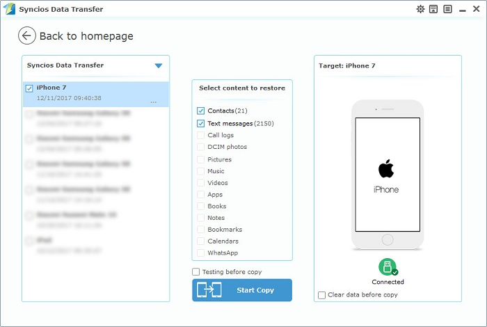 restore iphone 7 contacts and SMS from computer with one-click