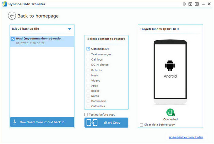 restore iCloud contacts to Android