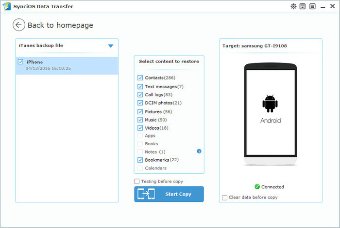 restore Photos from itunes to android
