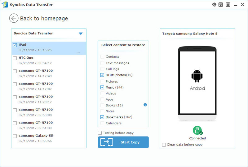 restore samsung galaxy note 8 with syncios data transfer