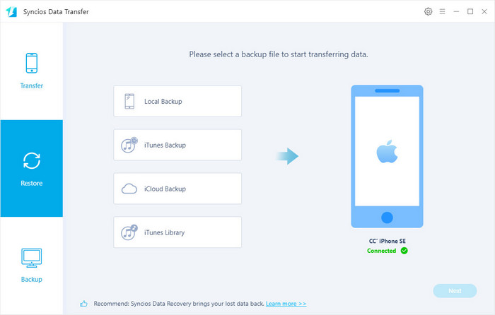 restore WhatsApp data to iPhone from Syncios, iCloud, iTunes backup