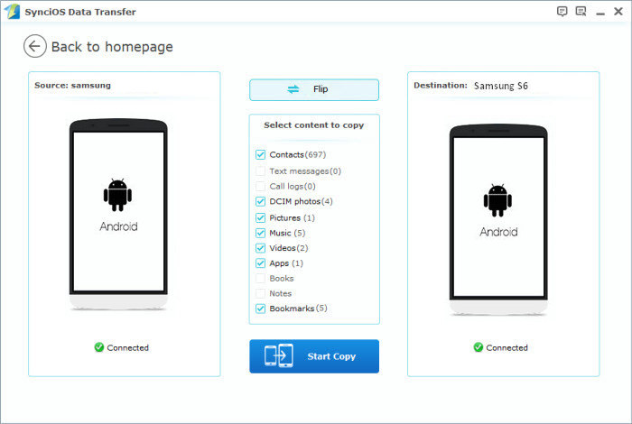 sync android to Samsung