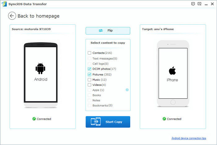 Syncios android to iphone Transfer