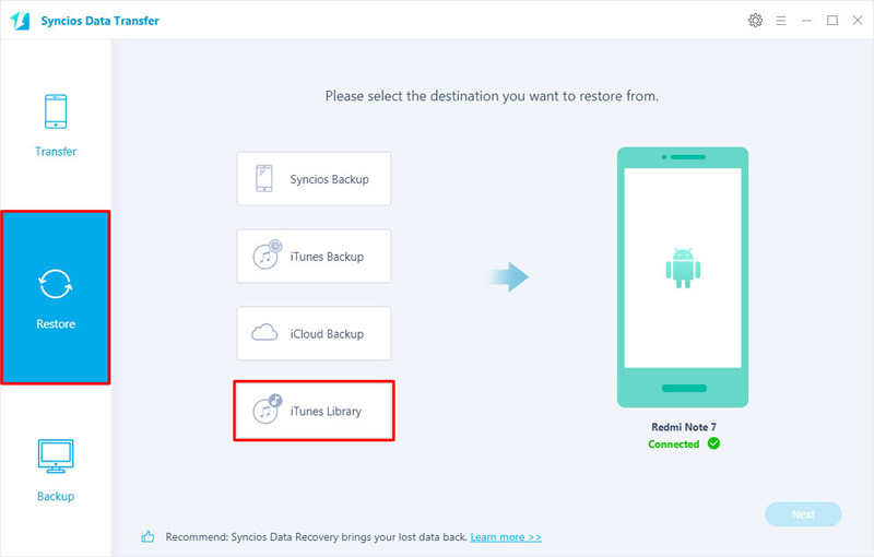 transfer itunes music to redmi note 7 step 1