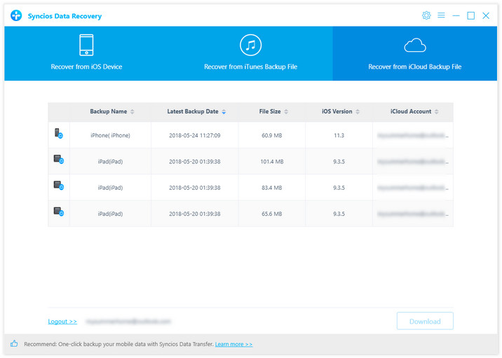 preview and restore the icloud backup