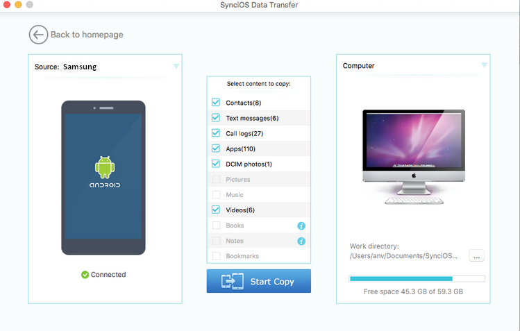 how to use syncios for samsung