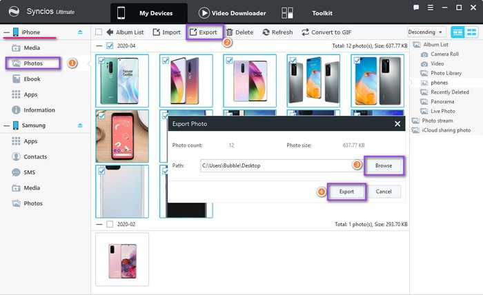 export iPhone photos to pc for importing to Samsung Galaxy Note 20