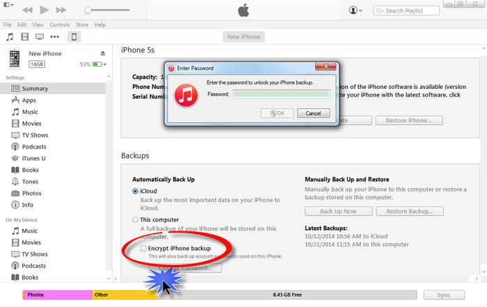 uncheck encrypt iTunes backup